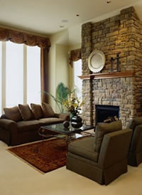 lounge suite with stone fire place