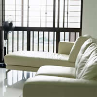 clean white leather couches